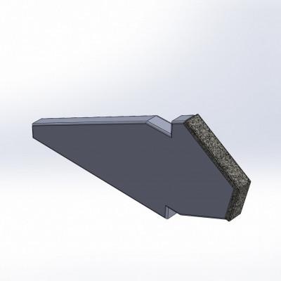 Komptech, Crambo-yhteensopiva terä, hardox 400, 2 CGP-karbidikerrosta.
