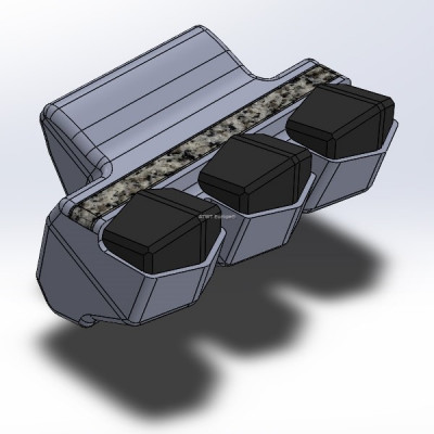 Bugnot, type P3 -yhteensopiva terä. Kolme kovametallikärkeä ja karbidikerros.
